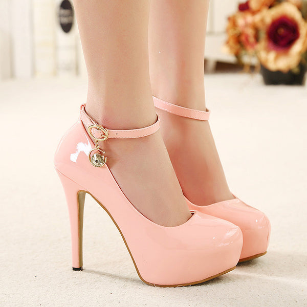 Buckle Strap Leather High Heels