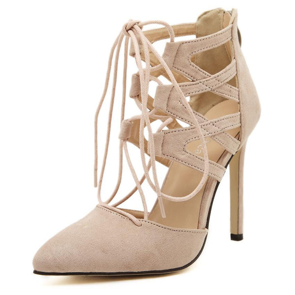 Pointed Toe Ankle Strap Thin High Heels