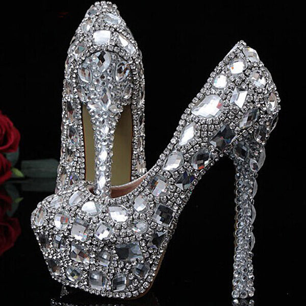 Crystal Beaded Rhinestone Shiny High Heels