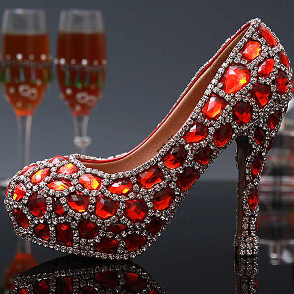 Shiny Red Diamonte 10cm High Heels