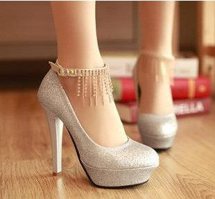 Shiny Elegant Ankle Strap High Heels