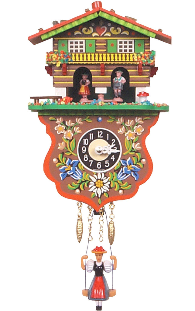 Small Battery-Operated Weather House with Swinging Girl Clock