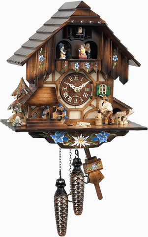 Large 1-Day Mechanical Woodchopper Cuckoo Clock
