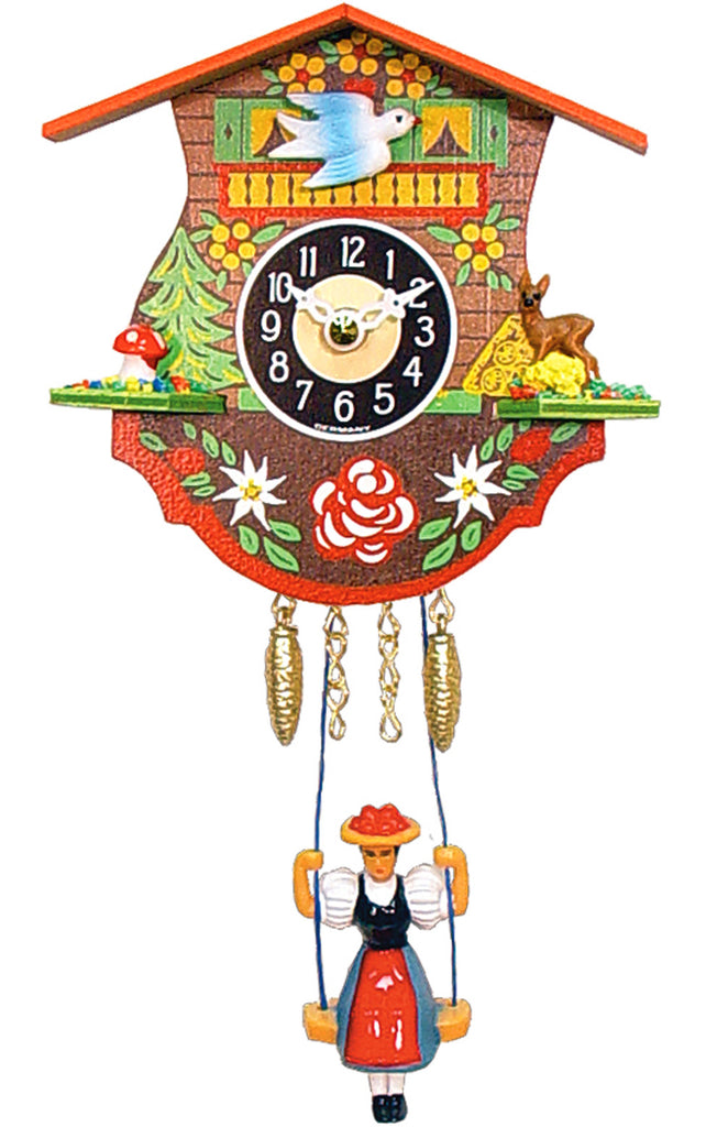 Small Battery-Operated Chalet Cuckoo Clock with Swinging Girl