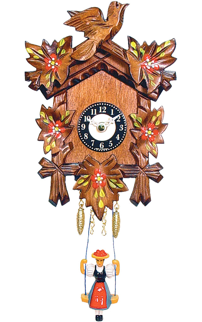 Small Battery-Operated Carved Bird Cuckoo Clock with Red Flowers