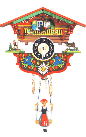 Small Battery-Operated Chalet Clock with Teeter-Totter and Swinging Girl