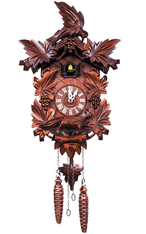 Large Battery-Operated Carved Bird Cuckoo Clock with Fox and Grapes