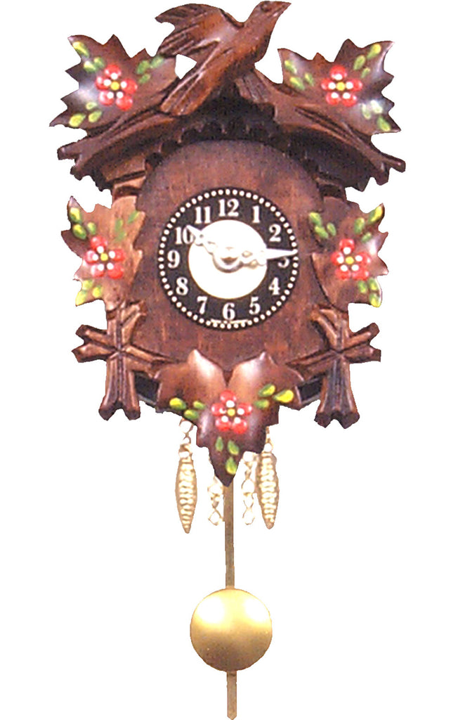 Small Battery-Operated Carved Bird Clock with Red Flowers