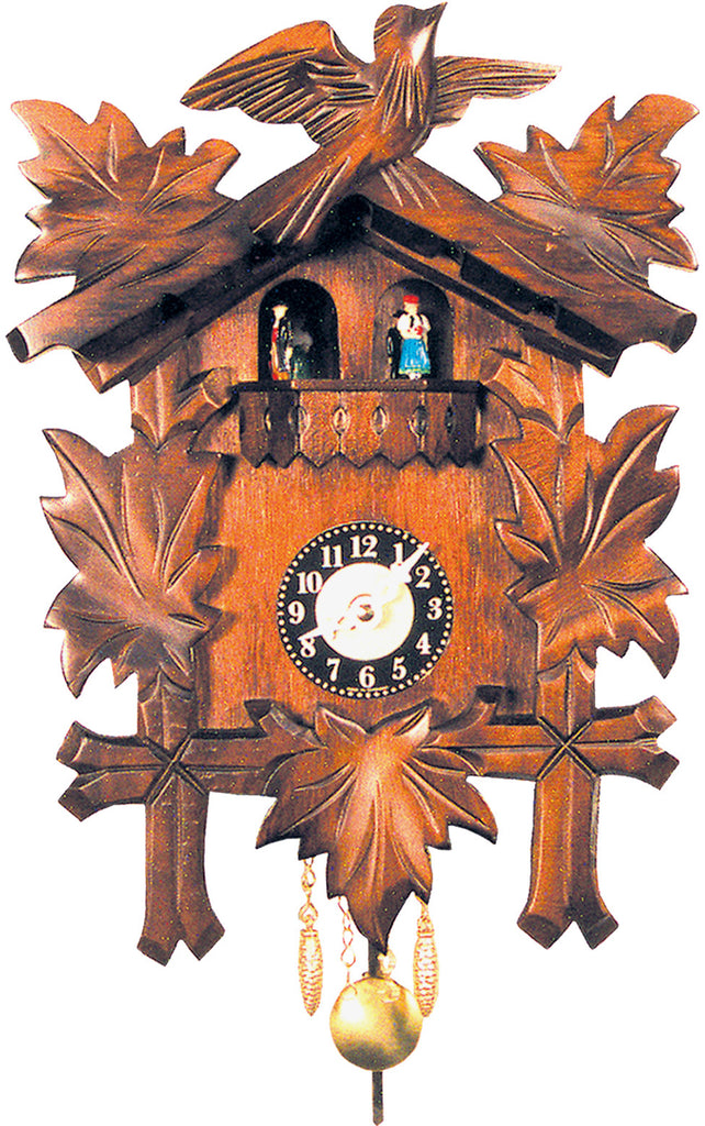 Small Battery-Operated Carved Bird Clock with Dancers