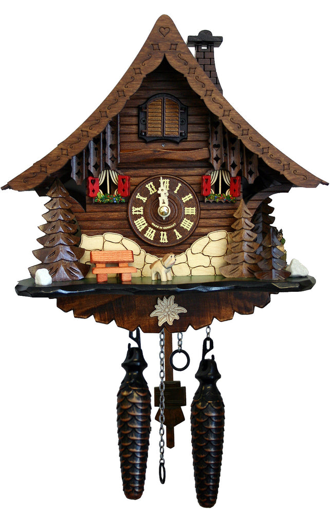 Large Battery-Operated Chalet with Dog Musical Cuckoo Clock