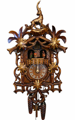 Large Battery-Operated Carved Edelweiss Flower with Dancers Musical Cuckoo Clock