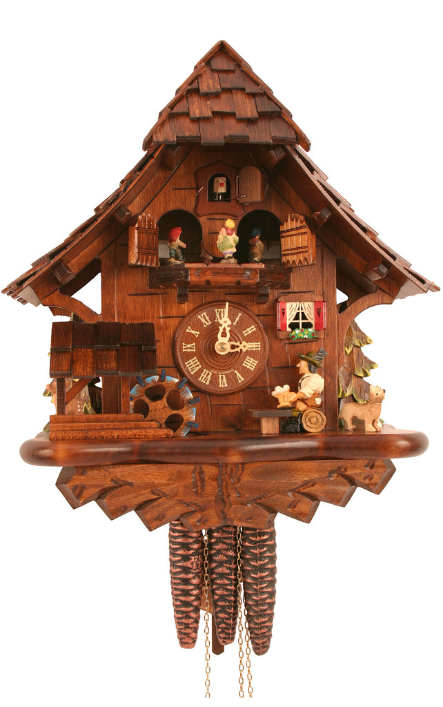 Large 1-Day Mechanical Chalet with Beer-drinker Musical Cuckoo Clock