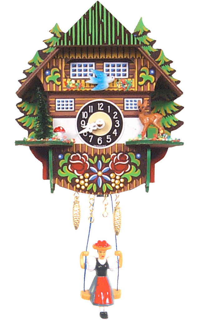 Small Battery-Operated Chalet Clock with Swinging Girl