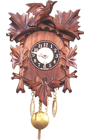 Small Battery-Operated Traditional Carved Bird Clock