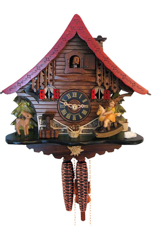 Large 1-Day Mechanical Chalet Cuckoo Clock with Girl on Rocking Horse