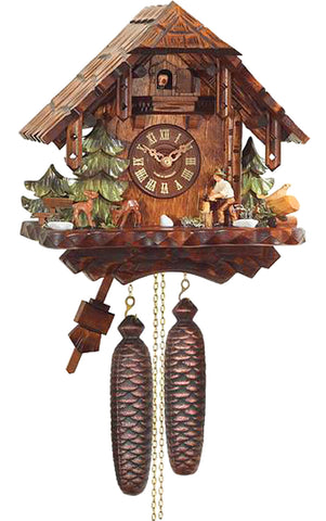 Large 1-Day Mechanical Chalet with Wood-chopper Cuckoo Clock