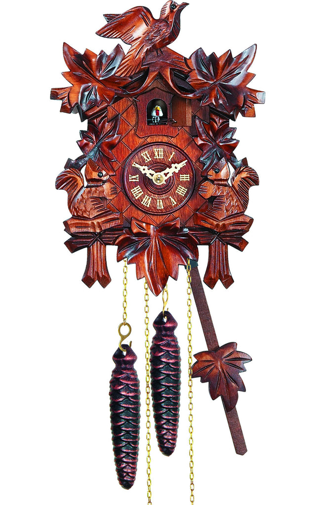 Large 1-Day Mechanical Traditional Carved Bird with Squirrels Cuckoo Clock