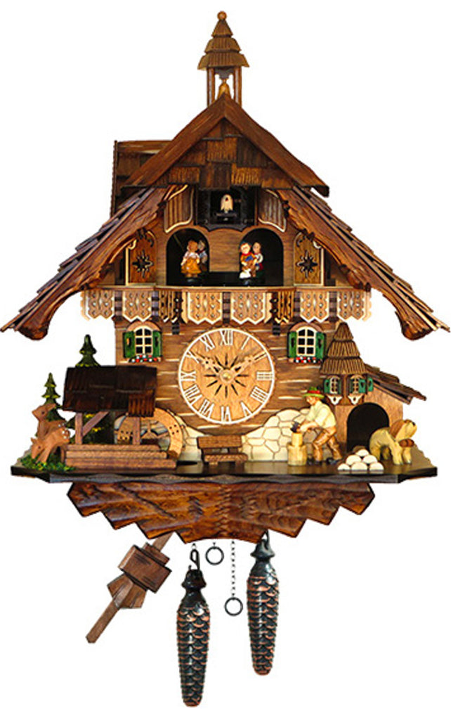 Large Battery-Operated Chalet Wood-chopper with Dog Deer Well and Bench Musical Cuckoo Clock