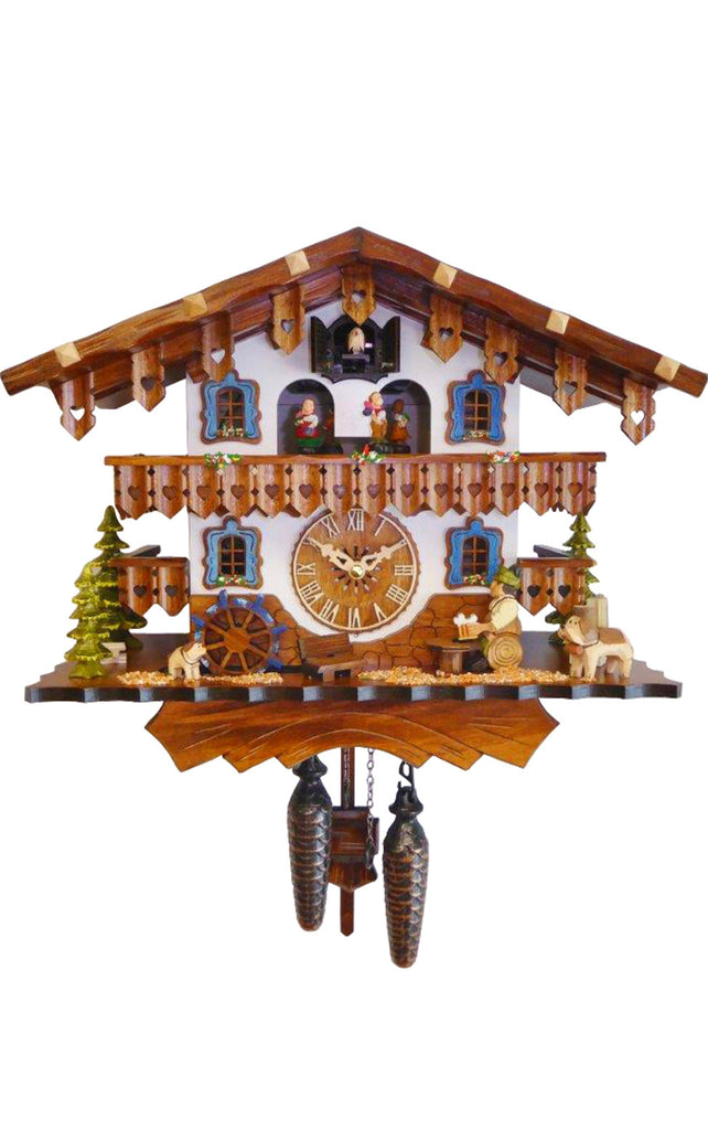 Large Battery-Operated Chalet with Beer-drinker Dog and Waterwheel Musical Cuckoo Clock