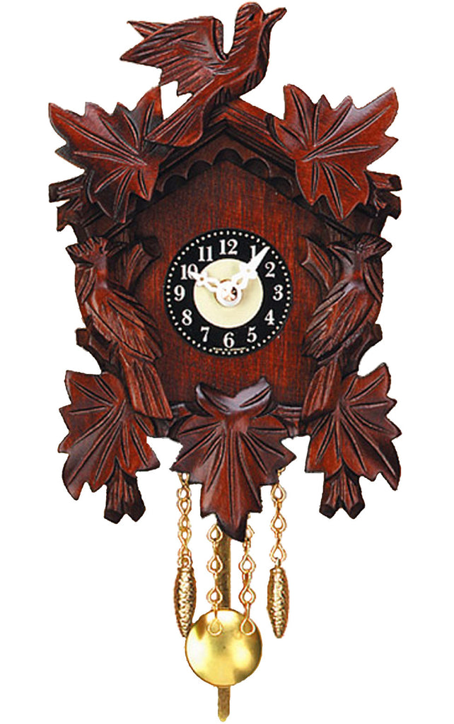 Small Battery-Operated Traditional Carved Bird Cuckoo Clock with Music/Chimes