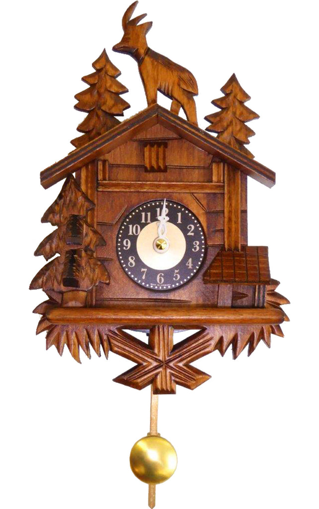 Small Battery-Operated Chalet Cuckoo Clock with Deer and Music/Chimes