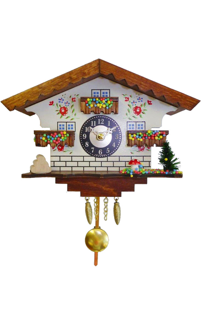 Small Battery-Operated White Chalet Cuckoo Clock with Music/Chimes