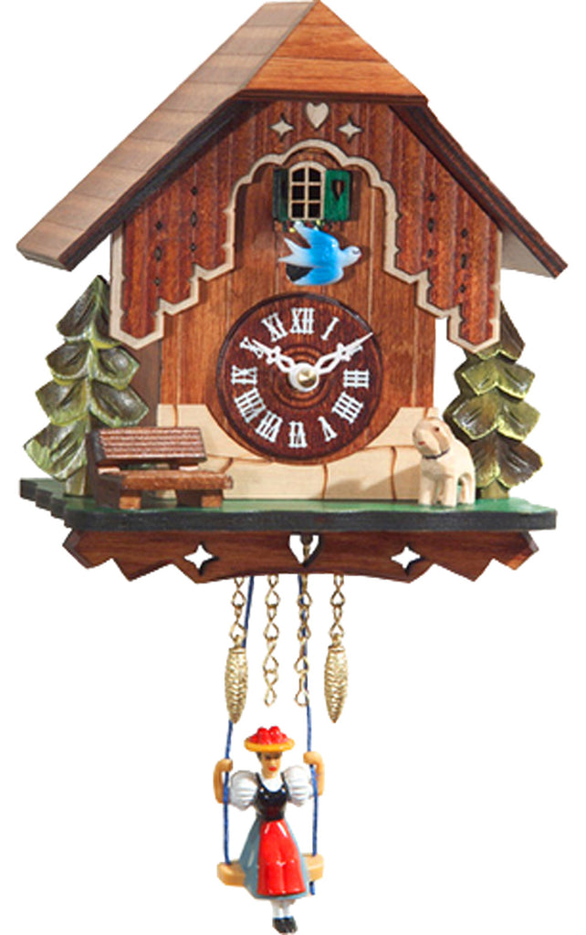 Small Battery-Operated Chalet Cuckoo Clock with Dog/Swinging Girl and Music/Chimes