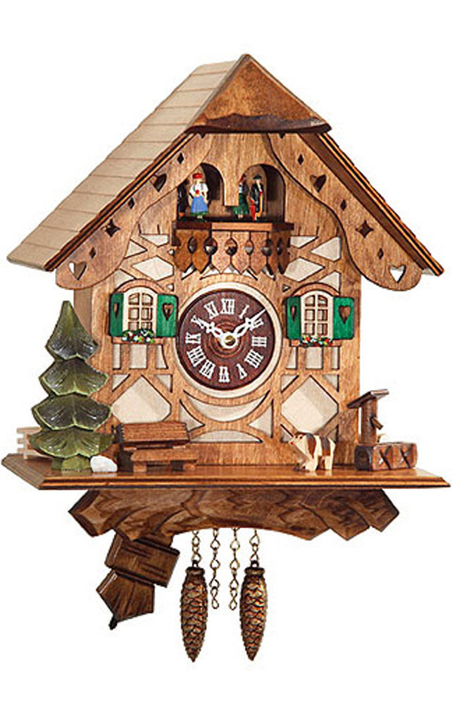 Small Battery-Operated Chalet Cuckoo Clock with Dancers and Music/Chimes