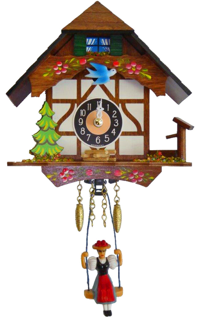 Small Battery-Operated Chalet Cuckoo Clock with Swinging Girl and Music/Chimes