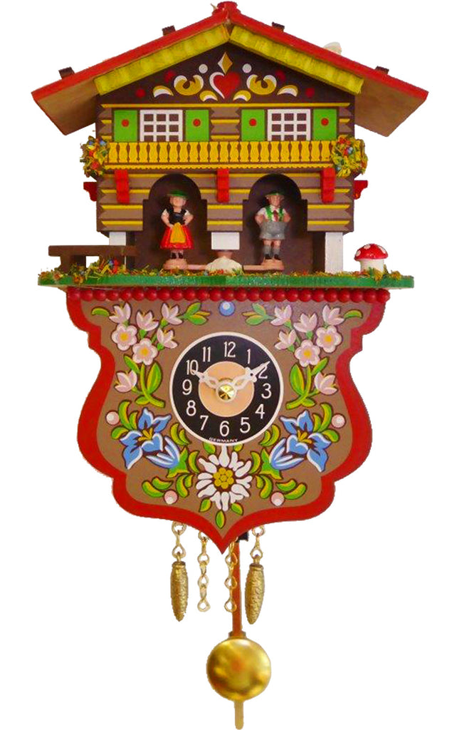 Small Battery-Operated Weather-house with Bavarian Couple Cuckoo Clock with Music/Chimes