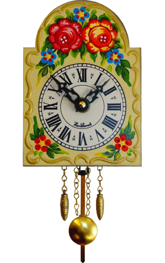 "Small Battery-Operated Floral-Patterned ""Rose Clock"" with Music/Chimes"