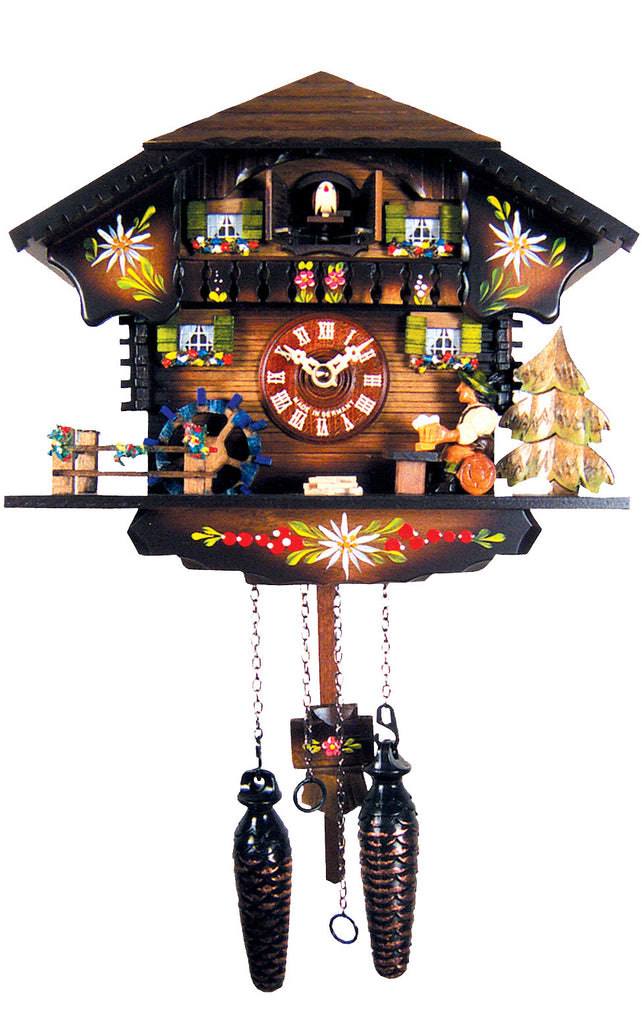 Large Battery-Operated Chalet with Beer-drinker Musical Cuckoo Clock