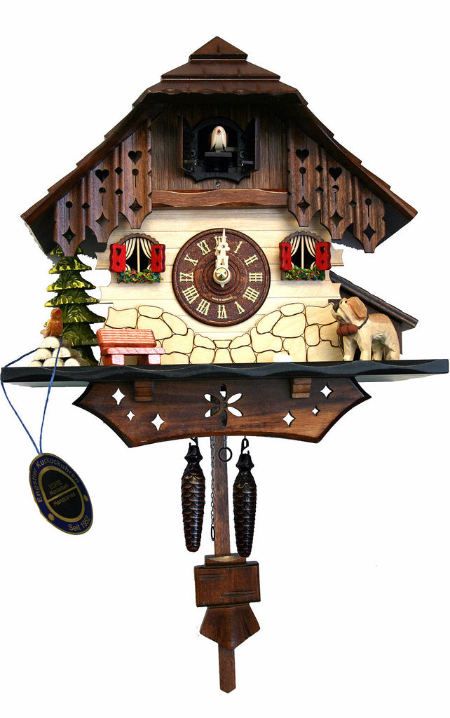 Large Battery-Operated Chalet with Dog and Bench Musical Cuckoo Clock