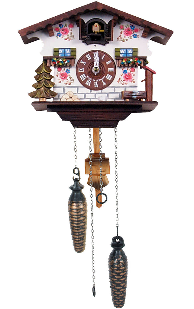 Large Battery-Operated White Chalet Musical Cuckoo Clock