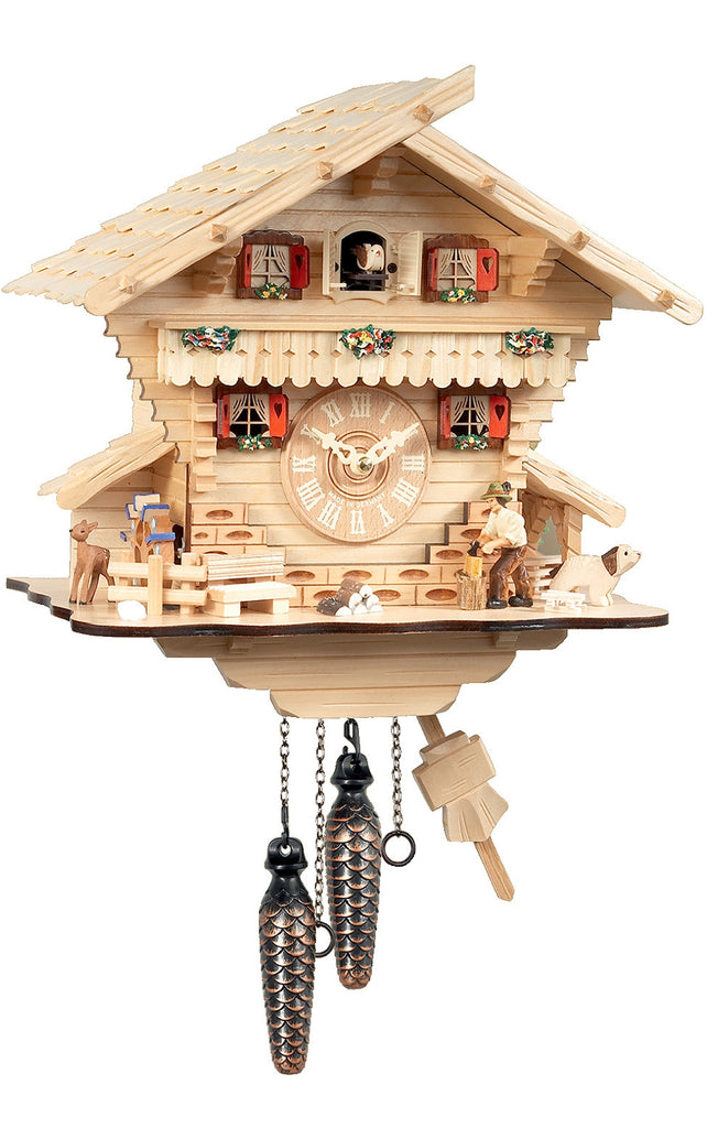 Large Battery-Operated Light Wood Chalet with Wood-chopper Musical Cuckoo Clock