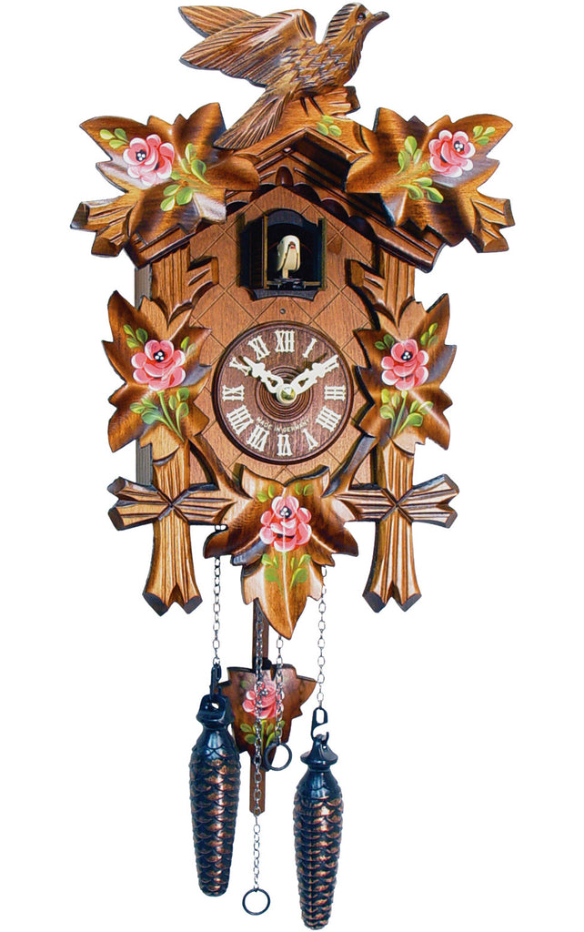 Large Battery-Operated Traditional Carved Bird Cuckoo Clock with Flowers [No Music]
