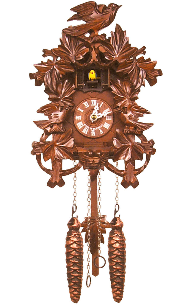 Large Battery-Operated Carved Birds with Nest Cuckoo Clock