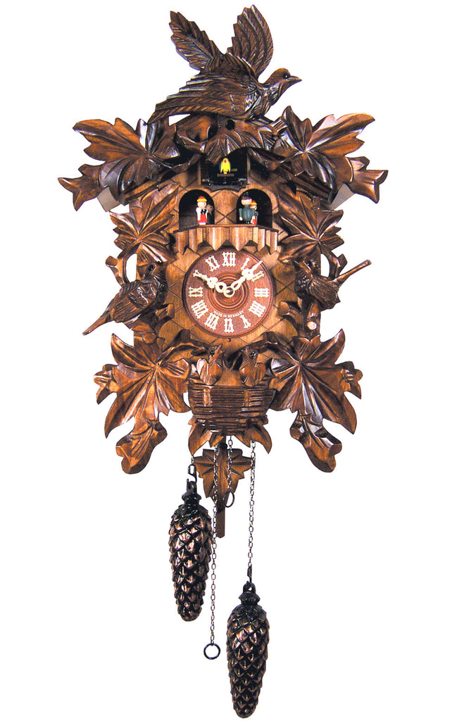 Large Battery-Operated Carved Birds with Nest Musical Cuckoo Clock