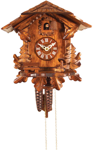 Large 1-Day Mechanical Carved Chalet Cuckoo Clock