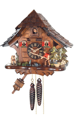 Large 1-Day Mechanical Chalet Cuckoo Clock with Man Fishing