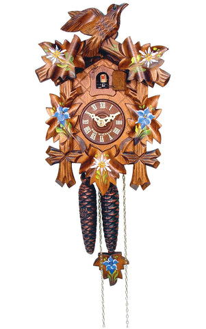 Large 1-Day Mechanical Carved Bird Cuckoo Clock with Painted Flowers