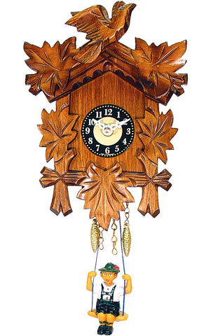 Small Battery-Operated Carved Bird Clock with Swinging Boy