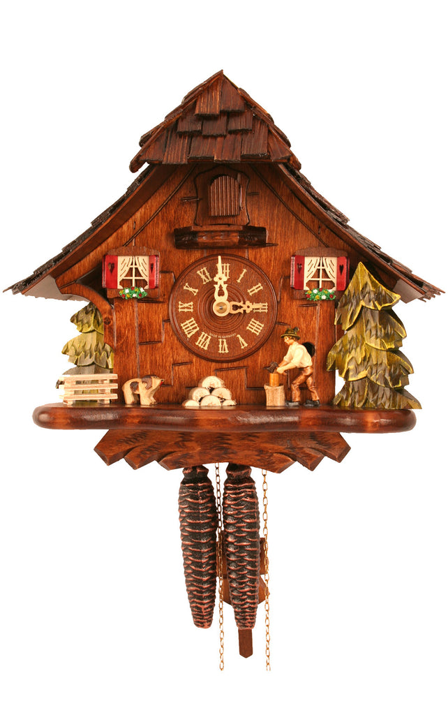 Medium 1-Day Mechanical Woodchopper Cuckoo Clock