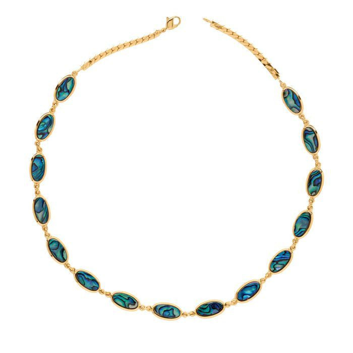 Paua Necklace Gold Plated – Oval