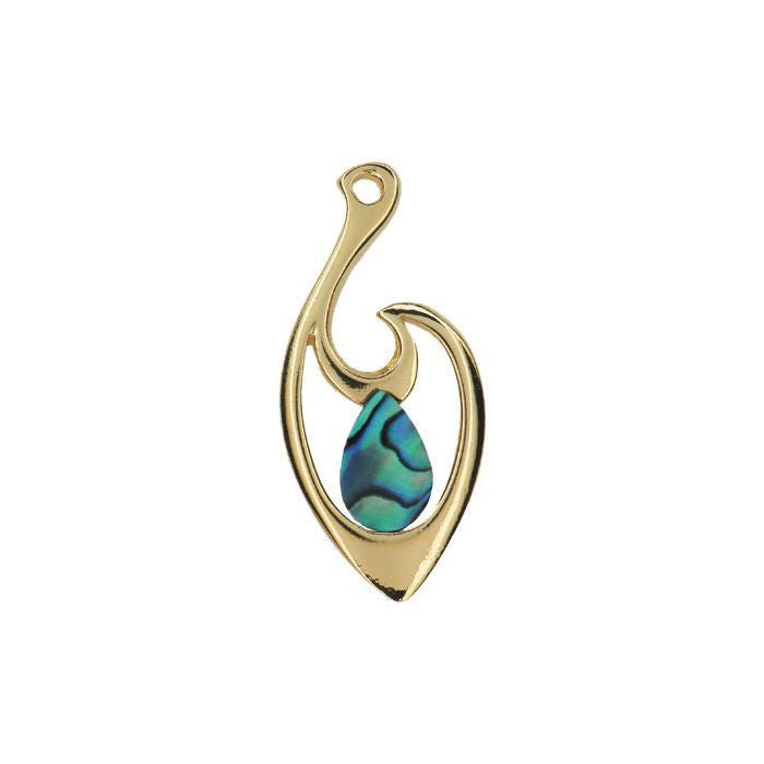 Paua Pendant Gold Plated – Teardrop