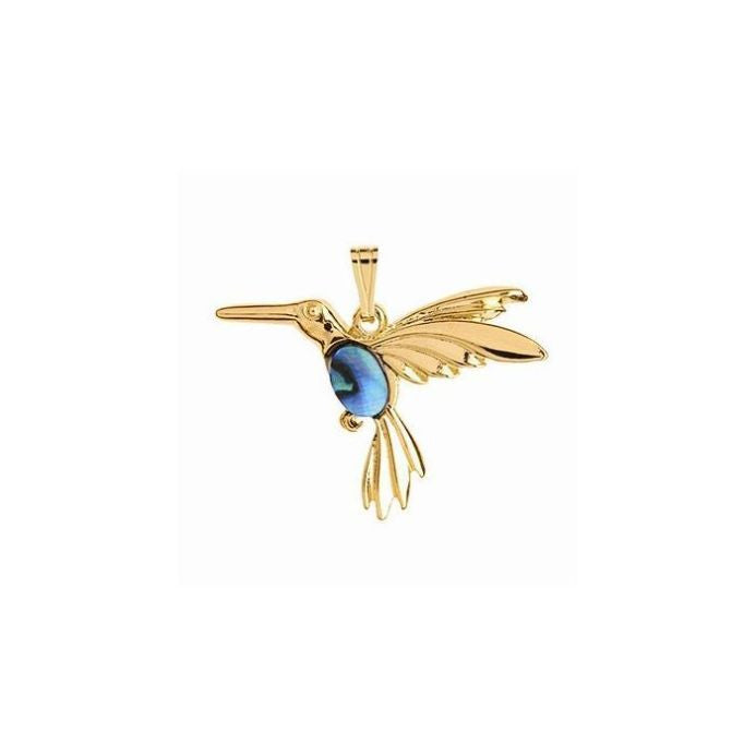 Paua Pendant Gold Plated – Hummingbird