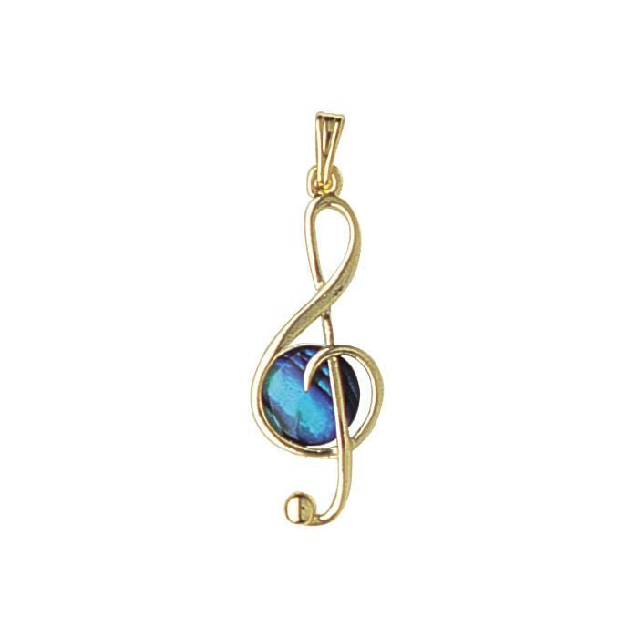 Paua Pendant Gold Plated – Treble Clef