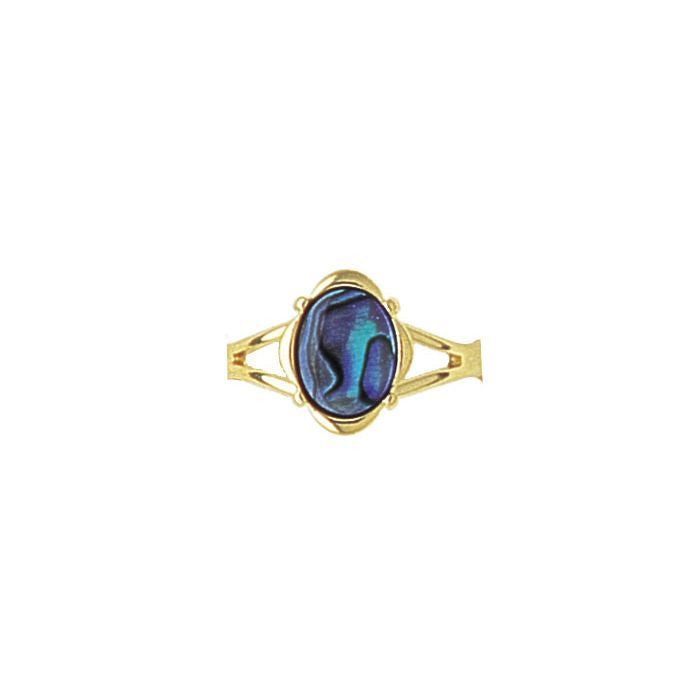 Paua Ring Gold Plated – Oval