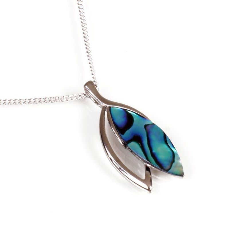 Paua Pendant Palladium Plated – Laurel Leaf