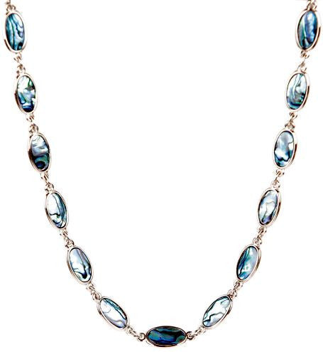 Paua Necklace Palladium Plated - Oval